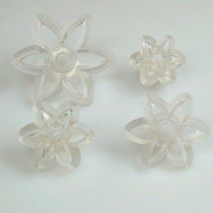 Jem pointed 6 Petal Daisy,  Set of 4