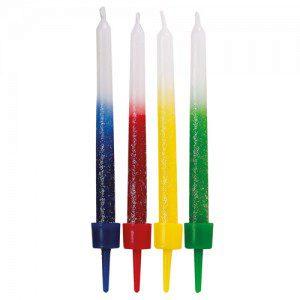 Wilton Kerzen in Regenbogenfarben, schimmernd