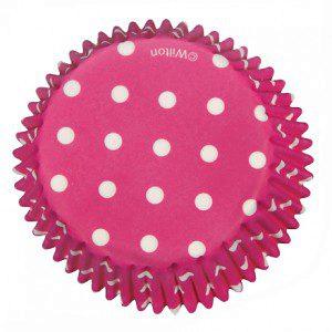 Wilton Backförmchen - pink mit weißen Tupfen
