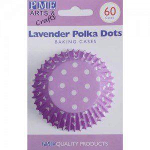 PME Backförmchen - violett/lavendel mit weißen Tupfen