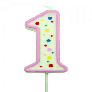 PME Large Candle Pink Number 1 - Kerze