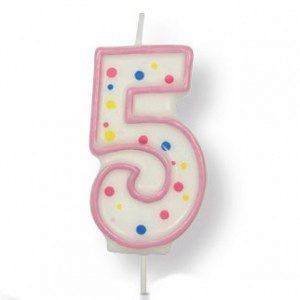 PME Large Candle Pink Number 5 - Kerze