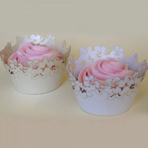 PME Cupcake Wrappers Flowers White pk/12