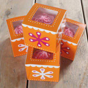 CupCake Box, 4er Set - Flower Power
