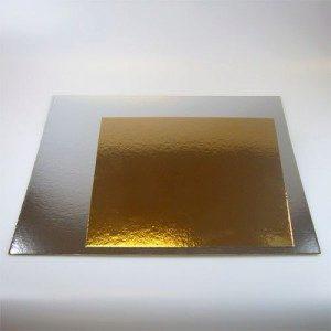 FC Tortenunterlagen in gold / silber, 100 Stück, 35 cm, Quadrat