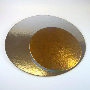 FC Tortenunterlagen in gold / silber, 3 Stück, 15 cm, rund