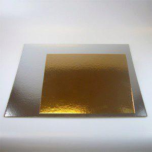 Tortenunterlagen in gold / silber, 3 Stück, 25 cm im Quadrat