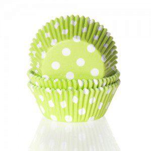 HoM Backförmchen - in limegrün mit weißen Tupfen