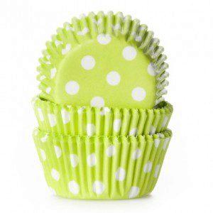 HoM mini Backförmchen - in lime mit weißen Tupfen