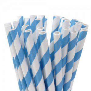 HoM Cake Pops Straws -Stripes Sky Blue- pk/20