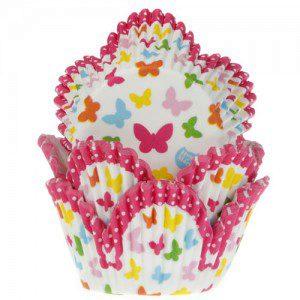 HoM Backförmchen - Tulpenform mit Schmetterlingen