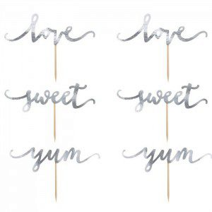 PartyDeco Cupcake Topper Love - Silber 6-teilig