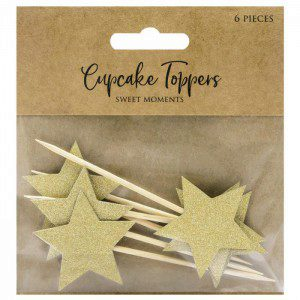 PD Cupcake Topper Sterne - Gold 6-teilig