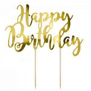 PartyDeco Cake Topper Happy Birthday - Gold