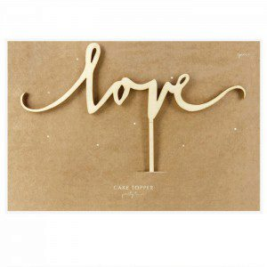 PartyDeco Holz Cake Topper Love