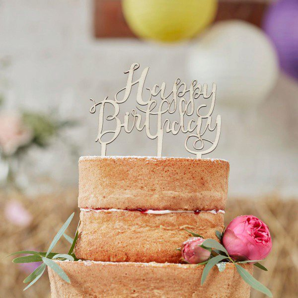 Ginger Ray Wooden Cake Topper Happy Birthday