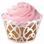 Wilton CupCakes Wraps in white pearl, Swirls
