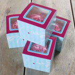 CupCake Box in leichtem Blau, 4er Set - Elegant